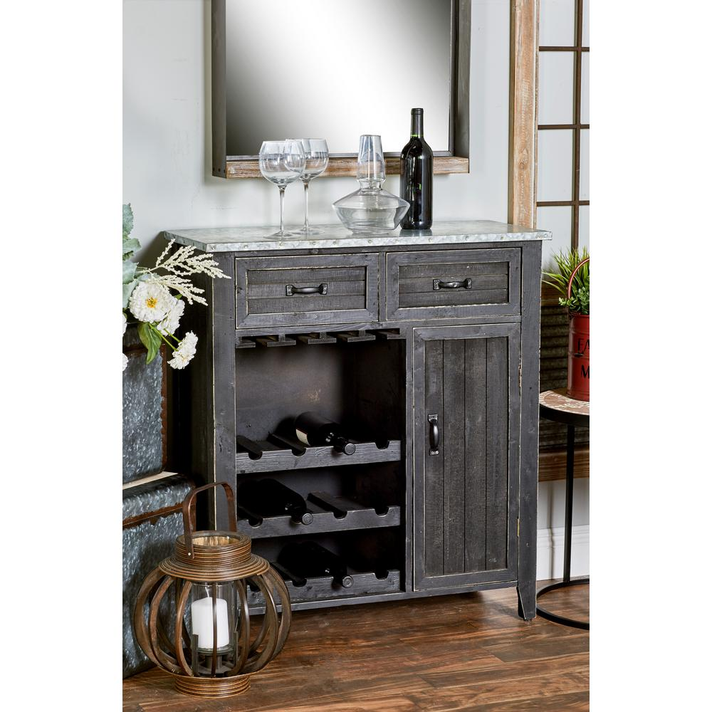 12-Bottle Black Rectangular Wine Cabinet with Stemware Rack