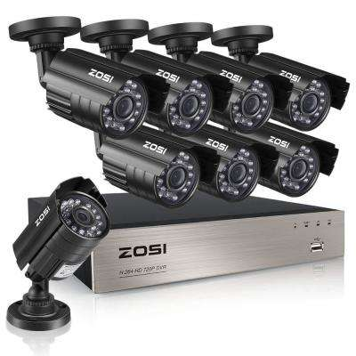 8-Channel 720p DVR Security Camera System with 8 Wired Bullet Cameras