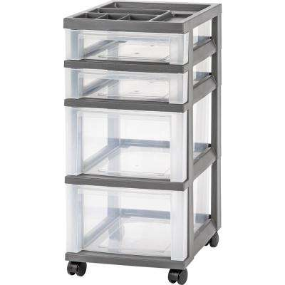 Gray 4 Drawer Storage Cart With Organizer Top
