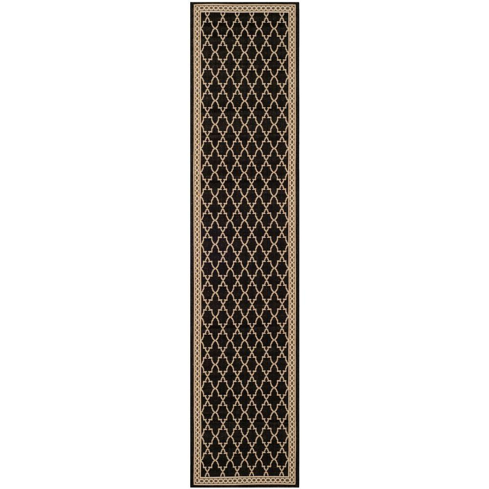 Courtyard Black/Beige 2 ft. 3 in. x 10 ft. Indoor/Outdoor Runner