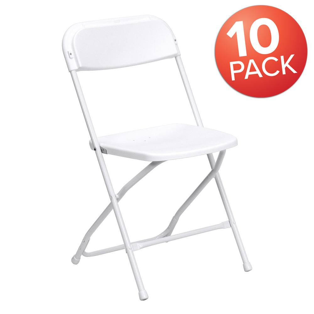 White Metal Folding Chair (Set of 10)