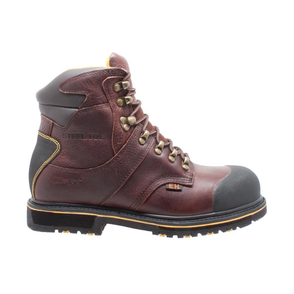 5ea033ed58e AdTec Men's Size 8 Dark Brown Grain Tumbled Leather 6 in. Waterproof Work  Boots