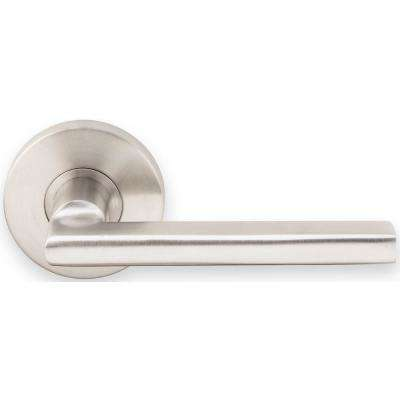 Sunrise Series Round Stainless Steel Satin Privacy Bed/Bath Door Lever with 2-3/8 in. Backset