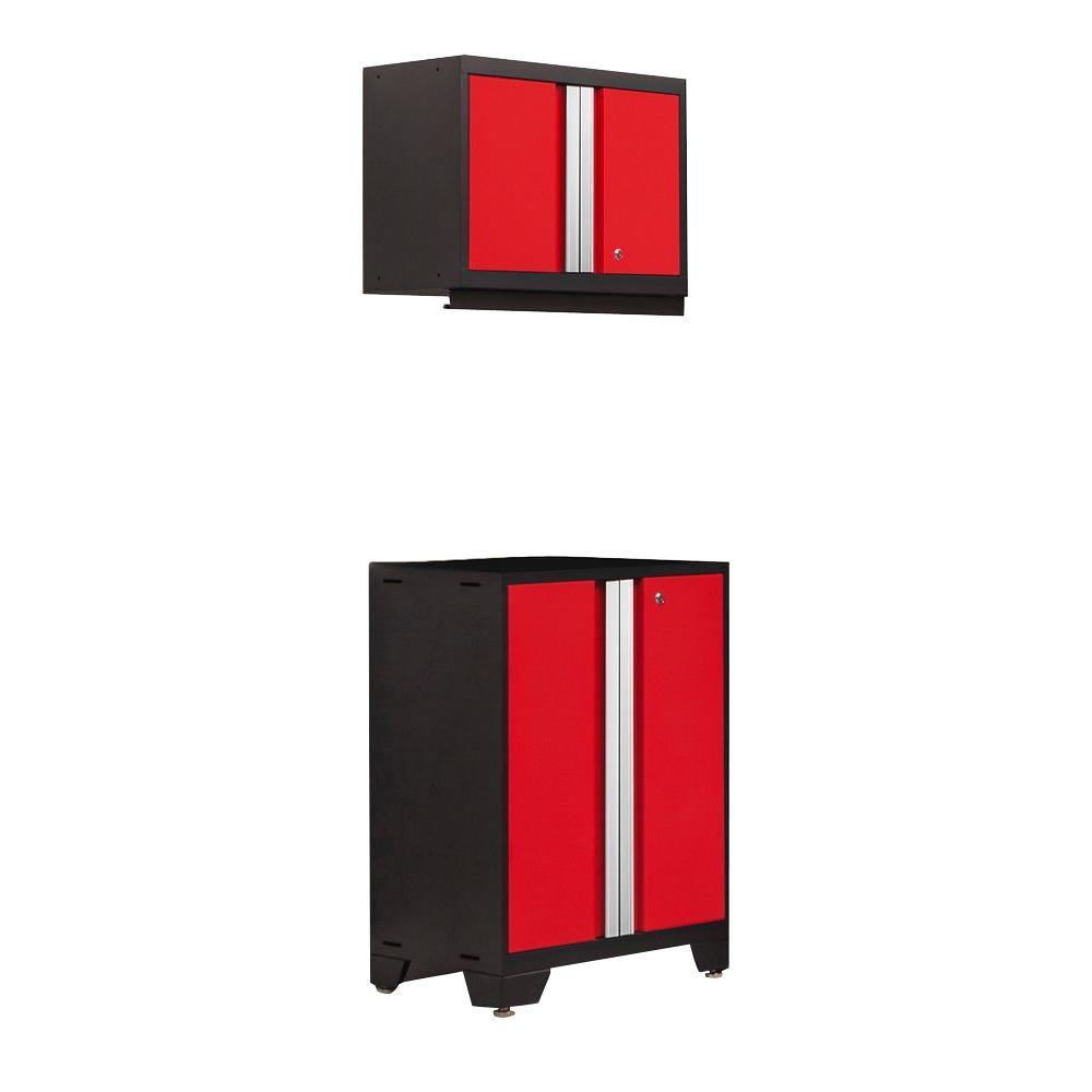 Bold 3 Series 77 in. H x 24 in. W x 16 in. D 24-Gauge Welded Steel 2-Door Base and Wall Cabinet Set in Red