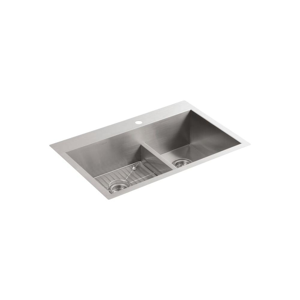 Vault Smart Divide Drop In/Undermount Stainless Steel 33 In. 1 Hole