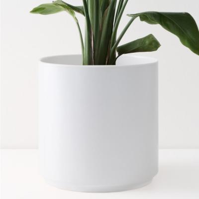 8 in. White Ceramic Indoor Planter (7 in. to 12 in.)