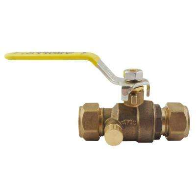 1/2 in. Bronze Compression Ball Valve with Drain Full-Port