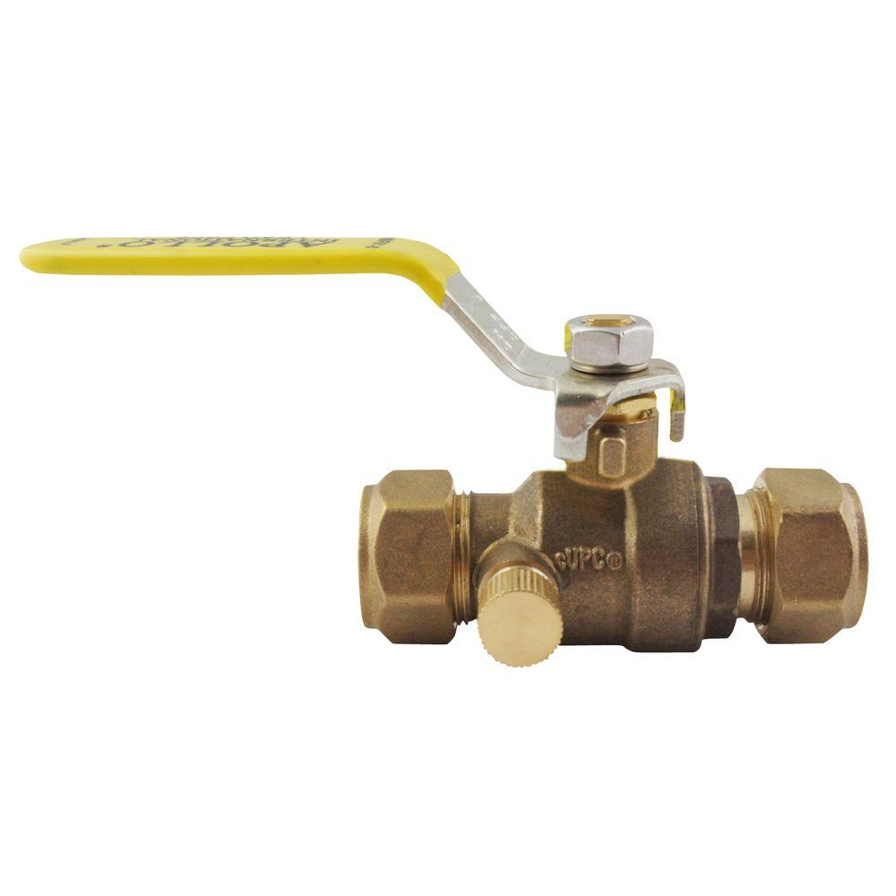 3/4 in. Bronze Compression Ball Valve with Drain Full-Port
