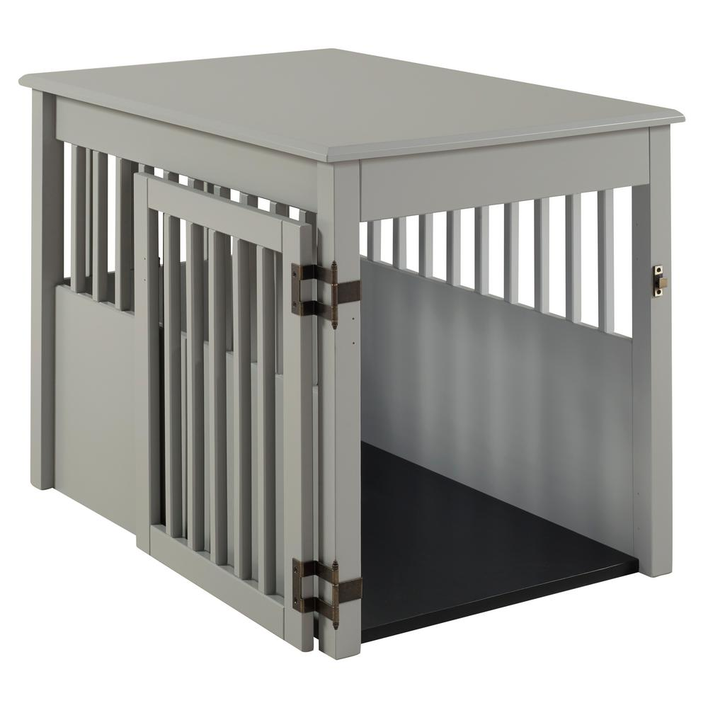 Camaflexi Ruffluv Grey End Table Pet Crate   Large