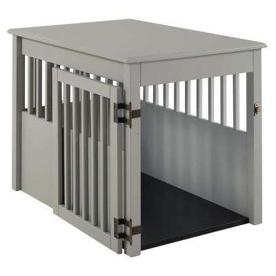 Ruffluv Grey End Table Pet Crate - Large