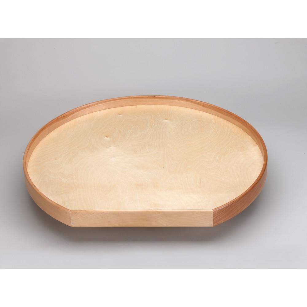 32 in. Natural Wood D-Shape Lazy Susan w/alum bearing