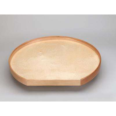 32 in. Natural Wood D-Shape Lazy Susan w/alum bearing
