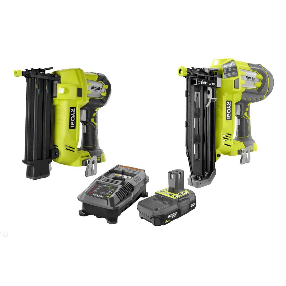 Ryobi 18 Volt One 18 Gauge Cordless Airstrike Brad Nailer With 16 Gauge Straight Finish Nailer 2 0 Ah Battery And Charger