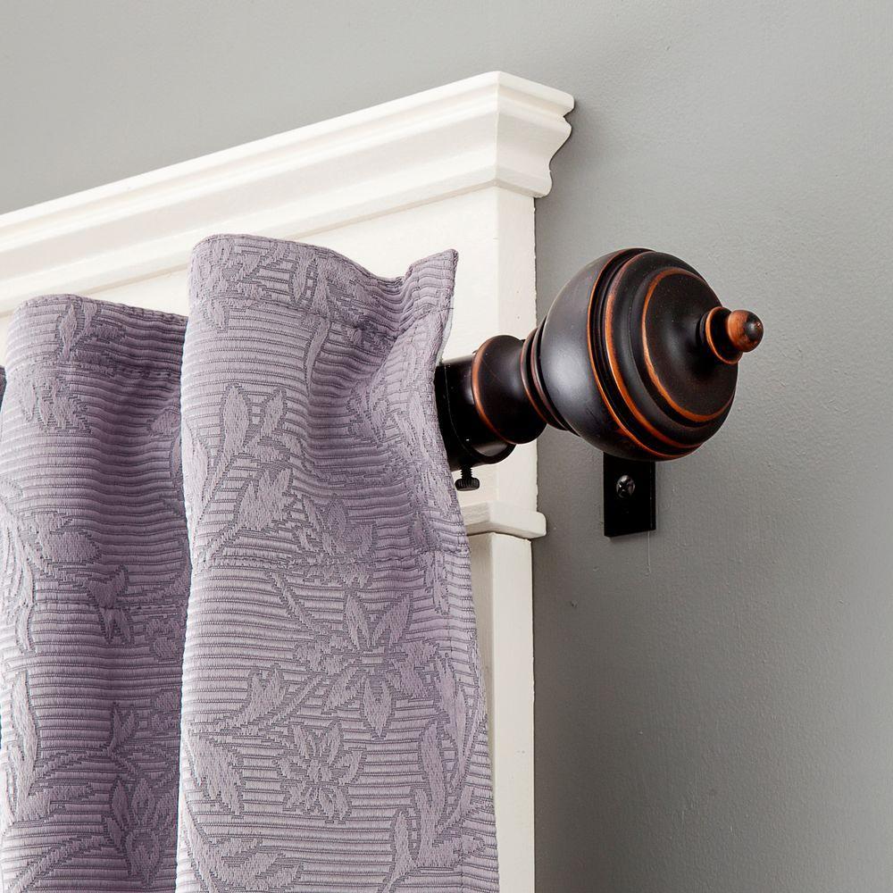 Manor 90 - 130 in. Adjustable 1 in. Premium Decorative Window Curtain Rod in Antique Copper