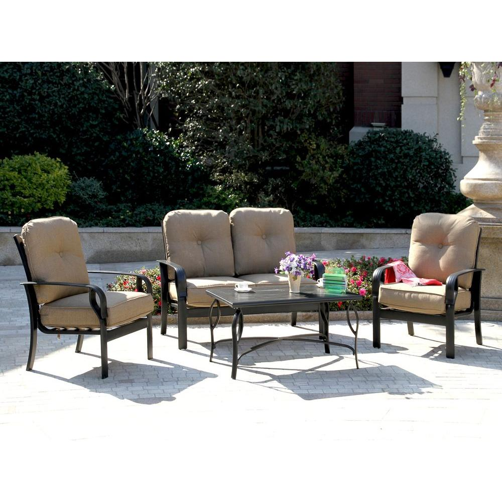 Blue Wave Sereno Bay 4 Piece Patio Conversation Set With Sunbrella Linen  Sesame Cushions