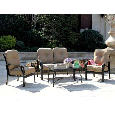Sereno Bay 4-Piece Patio Conversation Set with Sunbrella Linen Sesame Cushions