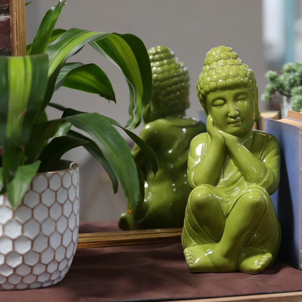 13 in. H Buddha Decorative Figurine in Green Gloss Finish