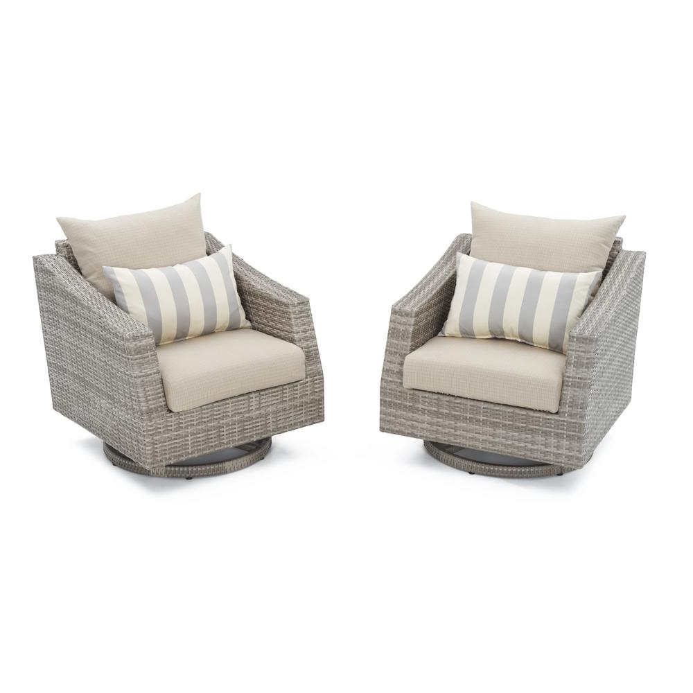 Cannes All-Weather Wicker Motion Patio Lounge Chair with Slate Grey Cushions