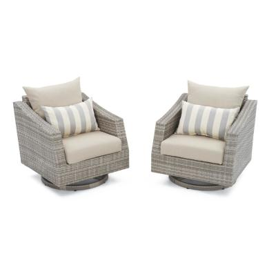 Cannes All-Weather Wicker Motion Patio Lounge Chair with Slate Grey Cushions (2-Pack)