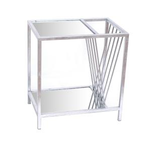 Silver Metal End Table with Magazine Rack by