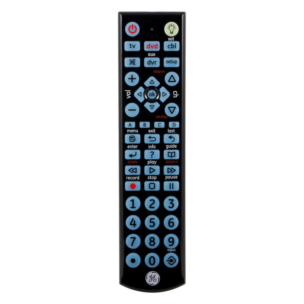 4-Device Universal LED Backlit Remote Control, Black