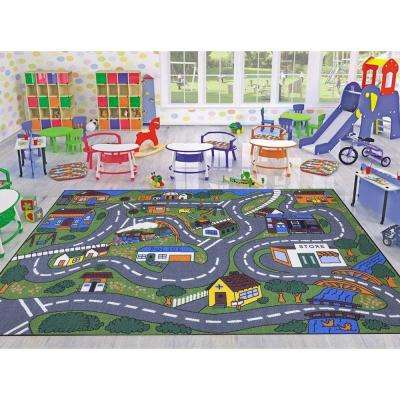 Jenny Collection Grey Road Traffic Design 8 ft. 2 in. x 9 ft. 10 in. Non-Slip Kids Area Rug