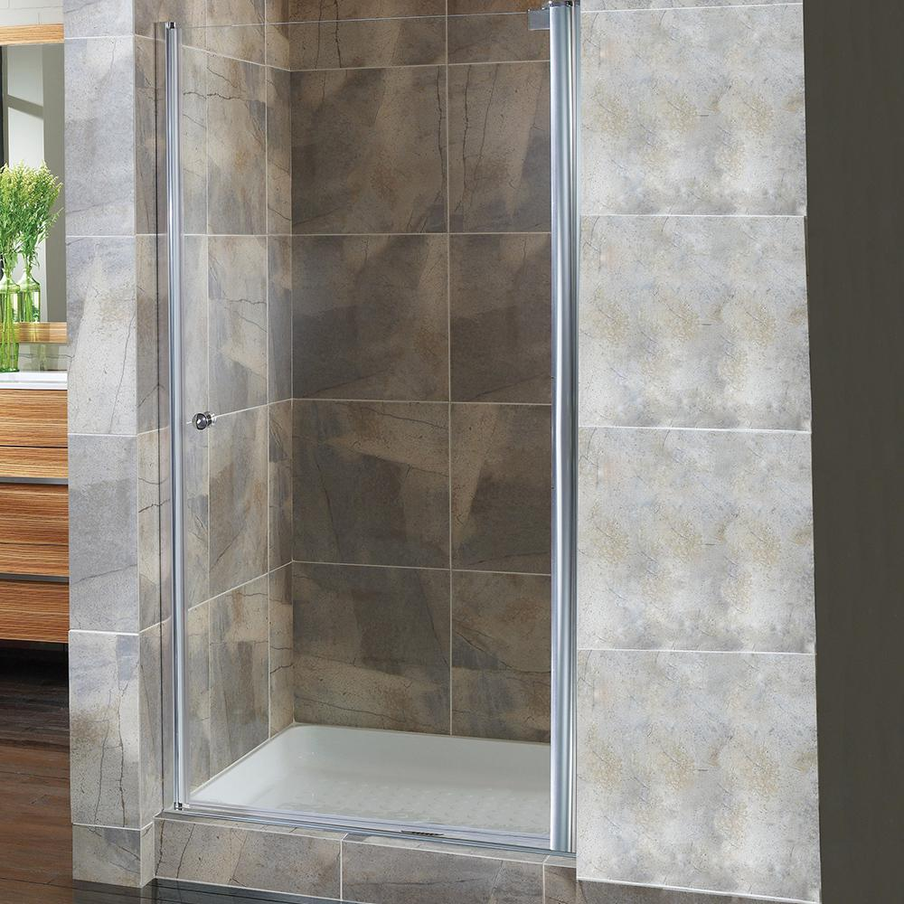 Foremost Cove 22.5 in. to 24.5 in. x 72 in. Semi-Framed Pivot Shower ...