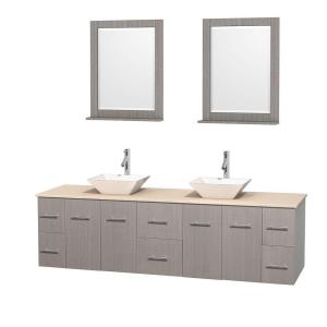 Wyndham Collection Centra 80 inch Double Vanity in Gray Oak with Marble Vanity Top in Ivory, Porcelain Sinks and 24 inch... by Wyndham Collection