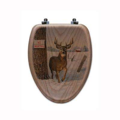 No Hunting Elongated Closed Front Wood Toilet Seat in Oak Brown