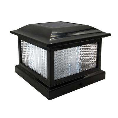 Solar post lighting outdoor lighting the home depot outdoor black solar integrated led plastic post cap light aloadofball Image collections