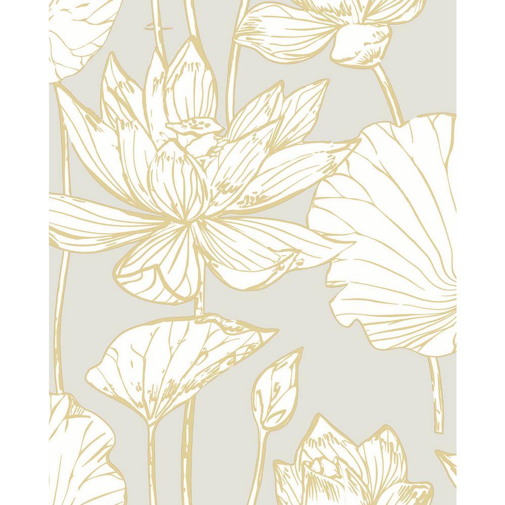 Lotus Floral Metallic Gold & Grey Peel and Stick Wallpaper 30.75 sq. ft.