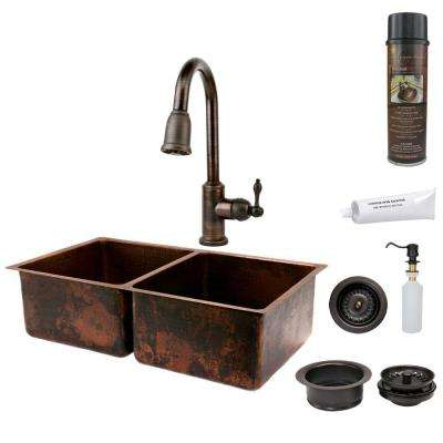 All-in-One Undermount Hammered Copper 33 in. 0-Hole 50/50 Double Basin Kitchen Sink in Oil Rubbed Bronze