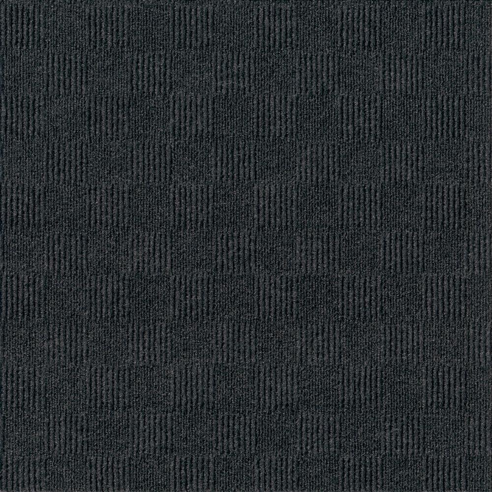 Premium Self-Stick First Impressions City Block Black Ice Texture 24 in. x 24 in. Carpet Tile (15 Tiles/Case)