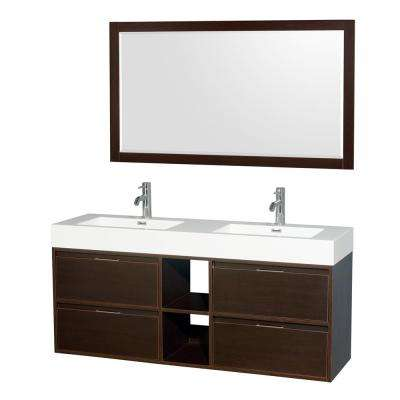 Daniella 60 in. W x 18 in. D Vanity in Espresso with Acrylic Vanity Top in White with White Basins and 58 in. Mirror