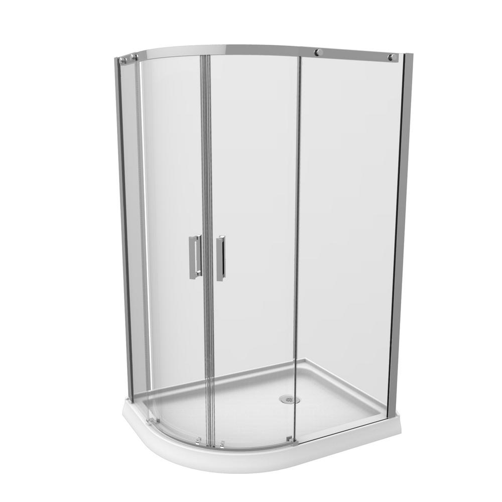 Renwil 36 in. x 48 in. x 77 in. 4-Piece Shower Stall in Chrome ...