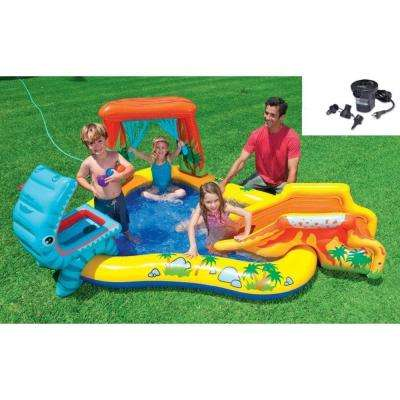 Intex Dinosaur Play Center Inflatable Kids Swimming Pool Quick Fill Air Pump