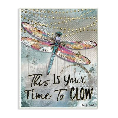 """10 in. x 15 in. """"Blue Lights This Is Your Time To Glow Dragonfly"""" by Artist Jennifer Lambein Wood Wall Art"""