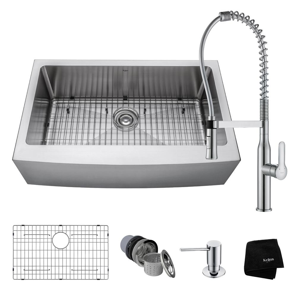 Ordinaire KRAUS All In One Farmhouse Apron Front Stainless Steel 33 In. 0 Hole Single  Bowl Kitchen Sink With Faucet In Chrome KHF200 33 1650 41CH   The Home Depot