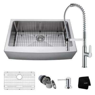 All-in-One Farmhouse Apron Front Stainless Steel 33 in. 0-Hole Single Bowl Kitchen Sink with Faucet in Chrome