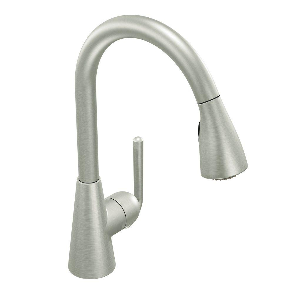 MOEN Ascent Single-Handle Pull-Down Sprayer Kitchen Faucet with Reflex in Classic Stainless