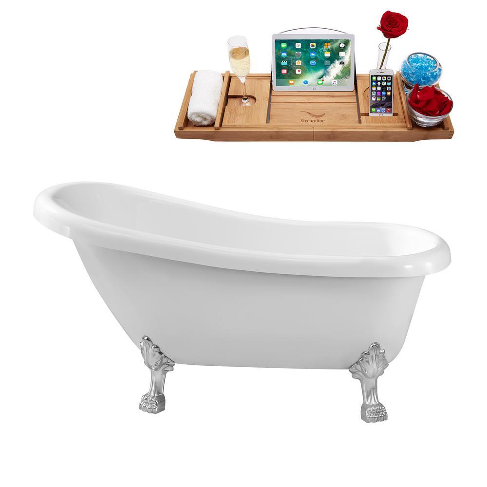61 in. Acrylic Clawfoot Non-Whirlpool Bathtub in White