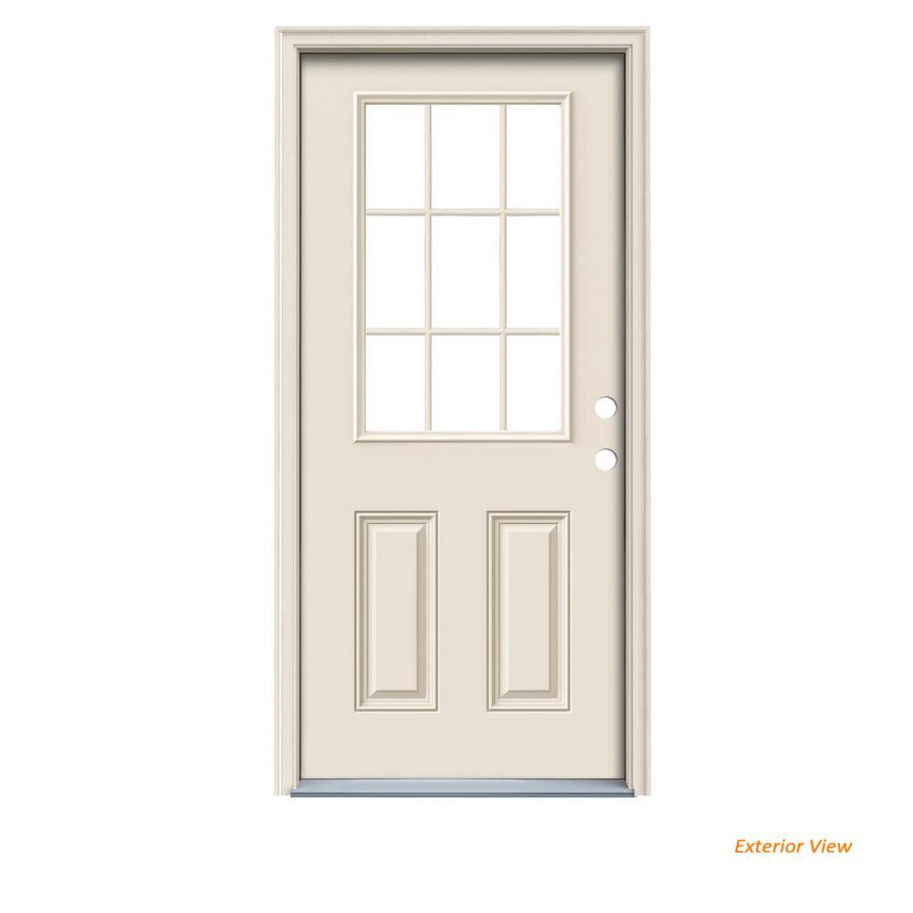 32 In X 80 In 9 Lite Primed Steel Prehung Left Hand Inswing Front Door With Brickmould