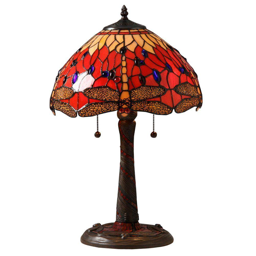 Warehouse of Tiffany 22 in. Red Dragonfly Mosaic Brown Table Lamp with Pull Chain
