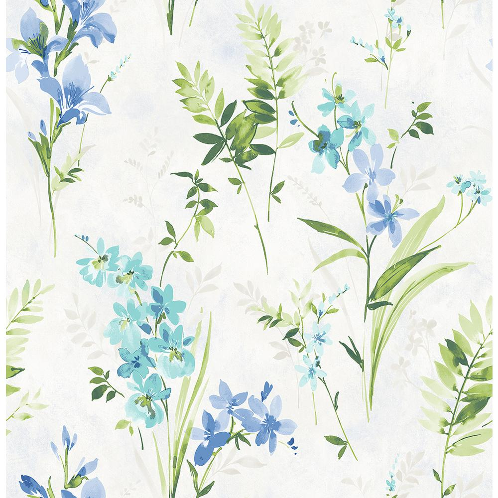 Chesapeake 8 In X 10 In Henrietta Blue Floral Wallpaper Sample