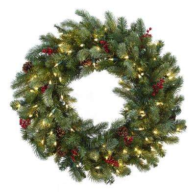 30 in lighted pine artificial wreath with berries and pine cones