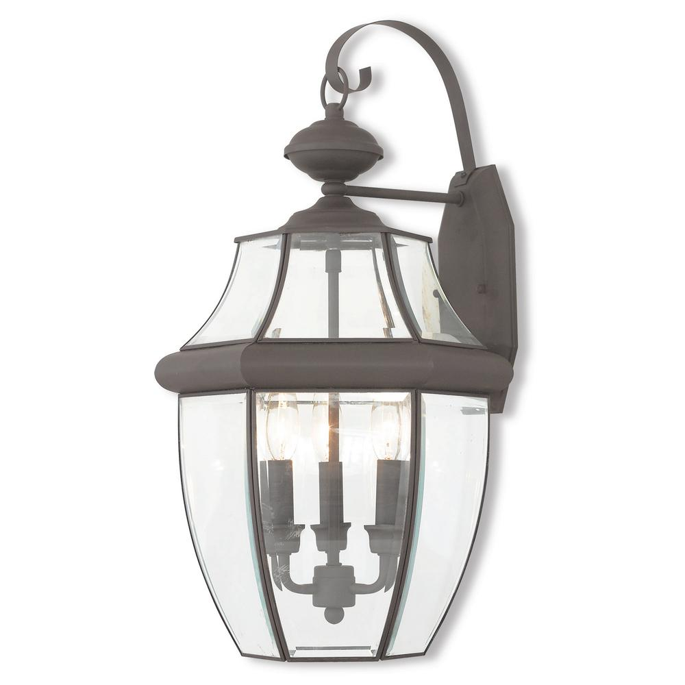 Monterey 3-Light Bronze Outdoor Wall Mount Lantern