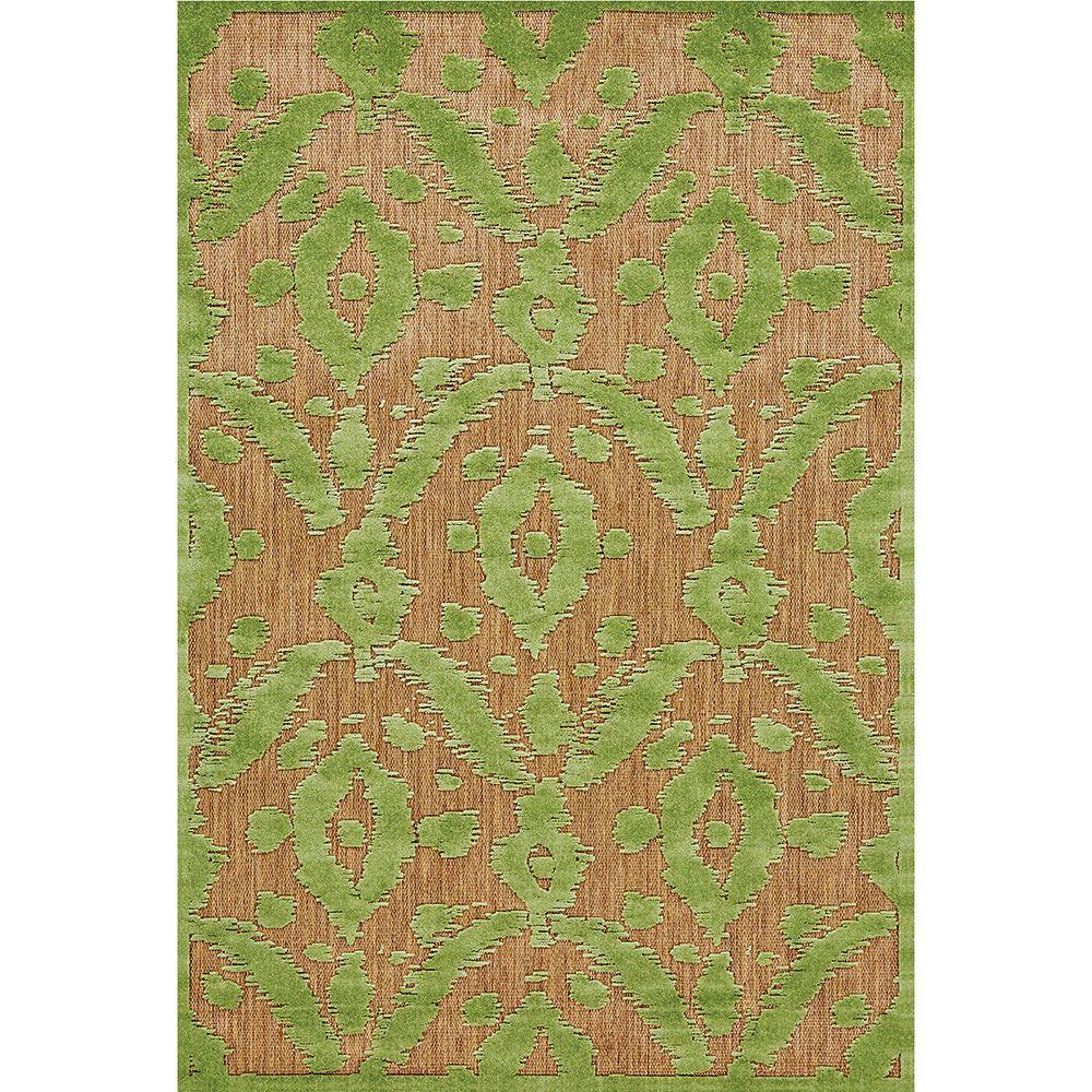 Feizy Raphia I Tan/Light Green 2 ft. 1 in. x 4 ft. Indoor/Outdoor Accent Rug