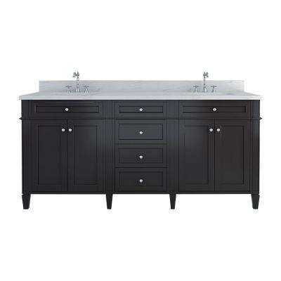 Samantha 72 in. W x 22 in. D Double Vanity in Espresso with Marble Vanity Top in White with White Basin
