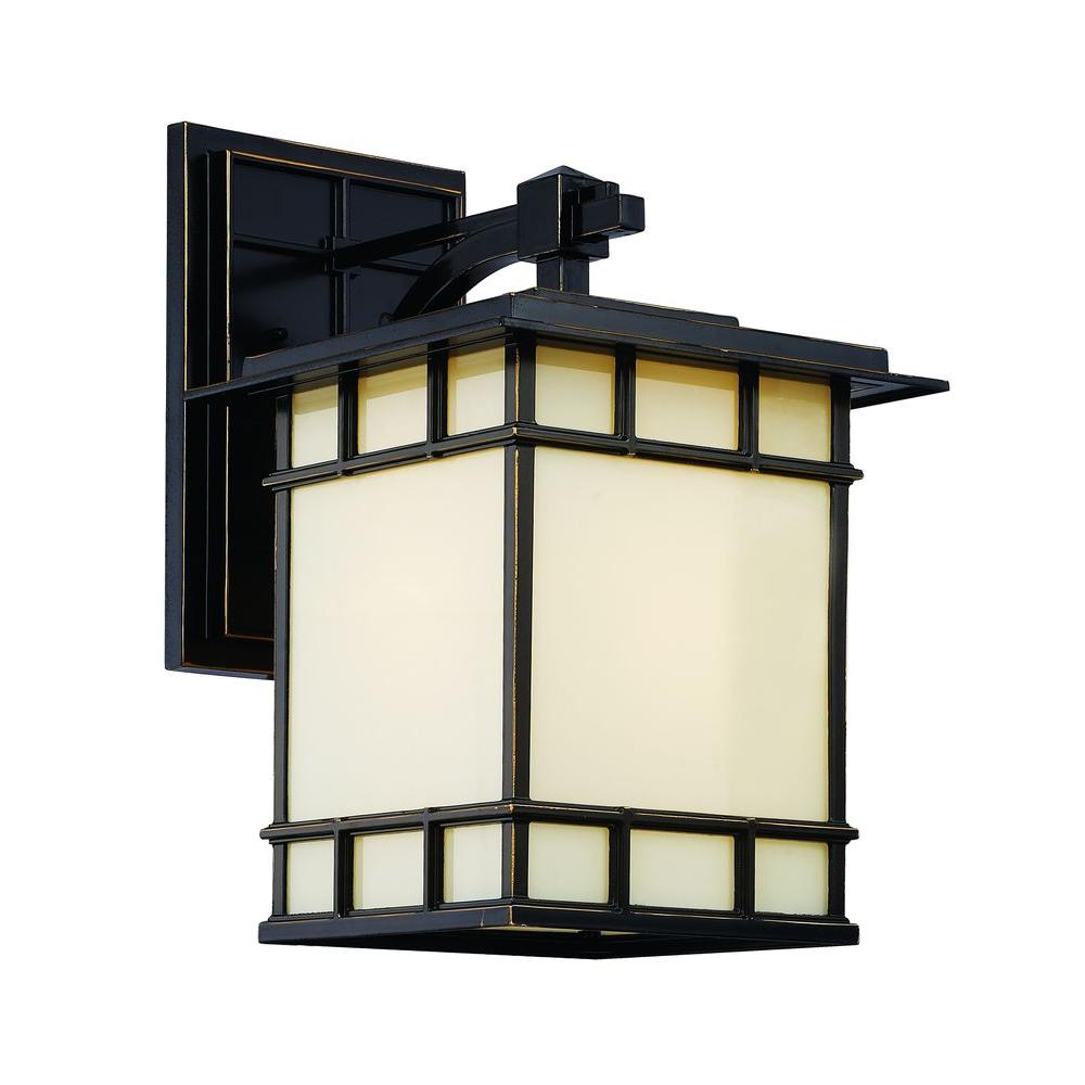Bel Air Lighting 1-Light Rubbed Oil Bronze Outdoor Chateau View Wall Lantern