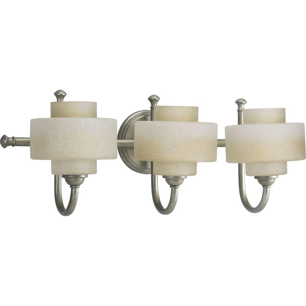 Progress Lighting Ashbury Collection 3-Light Silver Ridge Bathroom Vanity Light with Glass Shades